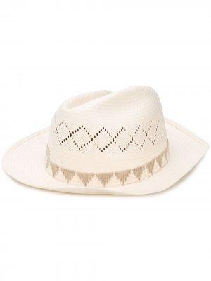 Шляпа-федора Crown Super Duper Hats. Цвет: белый