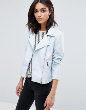 Куртка в кожаном стиле Vero Moda. Цвет: синий
