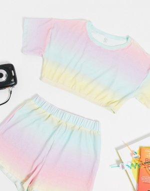 Махровый пляжный кроп-топ пастельной расцветки от комплекта -Многоцветный ASOS DESIGN