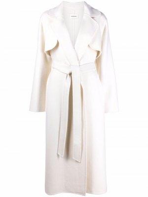 Belted-waist wool trench coat P.A.R.O.S.H.. Цвет: нейтральные цвета