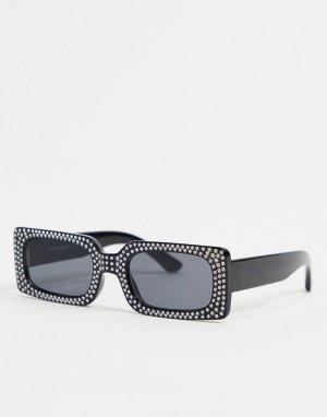 Квадратные солнцезащитные очки в черной оправе с украшениями -Черный цвет AJ Morgan