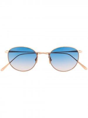 Солнцезащитные очки M9 01 в круглой оправе Lunor. Цвет: золотистый