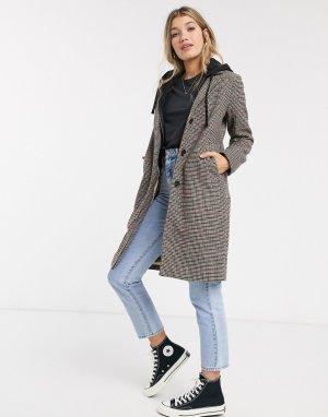 Шерстяное пальто в клетку -Мульти Abercrombie & Fitch