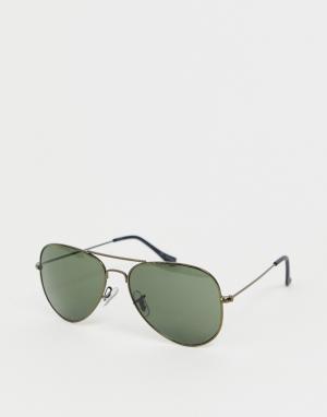 Солнцезащитные очки-авиаторы с черными стеклами -Черный Jack & Jones