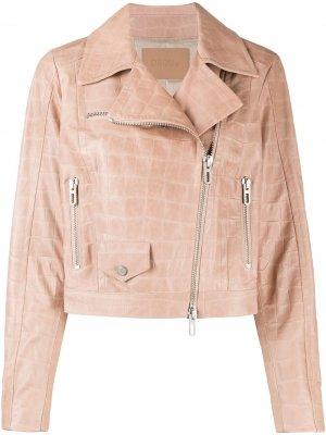 Укороченная байкерская куртка с тиснением Drome. Цвет: розовый