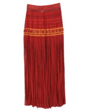 Длинная юбка PIN UP STARS. Цвет: кирпично-красный