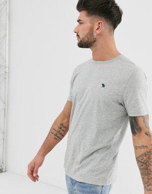Серая меланжевая футболка с круглым вырезом и логотипом -Серый Abercrombie & Fitch