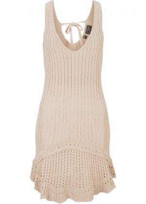 Пляжное платье вязаное bonprix. Цвет: бежевый