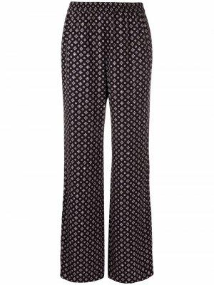 Geometric-print straight-leg trousers Michael Kors. Цвет: черный