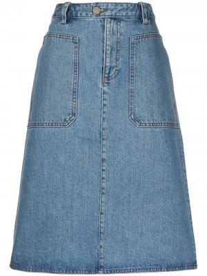Джинсовая юбка А-силуэта A.P.C.. Цвет: синий