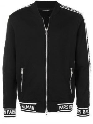 Куртка-бомбер с фирменными полосками Balmain. Цвет: черный