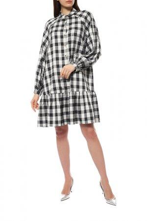 Платье Numph. Цвет: черный, белый, клетка