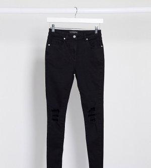 Черные зауженные джинсы с рваными коленями -Черный Parisian Petite