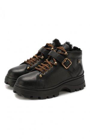 Кожаные ботинки Miu. Цвет: черный