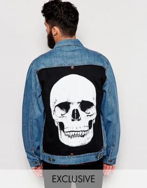 Джинсовая куртка со вставкой с принтом черепа сзади Reclaimed Vintage