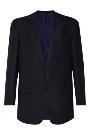Черный шерстяной костюм Stefano Ricci. Цвет: синий