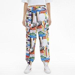 Штаны International Printed Woven Womens Track Pants PUMA. Цвет: белый