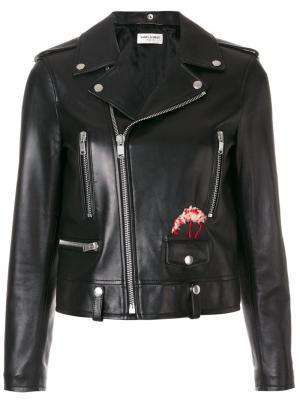 Байкерская куртка с вышитым фламинго Saint Laurent. Цвет: чёрный