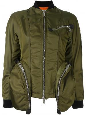 Куртка-бомбер с карманами на молнии Dsquared2. Цвет: зелёный
