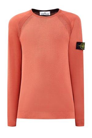 Хлопковый джемпер из легкой пряжи Reversible Knit с двухцветным эффектом STONE ISLAND. Цвет: красный