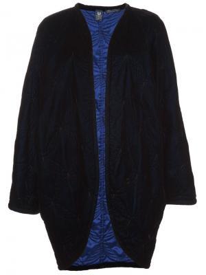 Длинное бархатное пальто Emanuel Ungaro Vintage. Цвет: синий