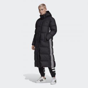 Длинный пуховик Originals adidas. Цвет: черный