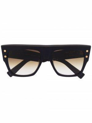 Солнцезащитные очки B-I в квадратной оправе Balmain Eyewear. Цвет: черный
