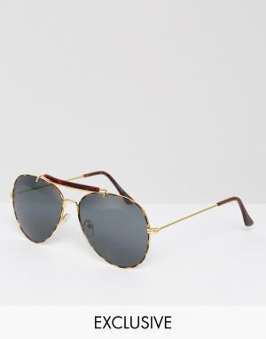 Солнцезащитные очки-авиаторы в золотистой оправе Inspired Reclaimed Vintage. Цвет: серебряный