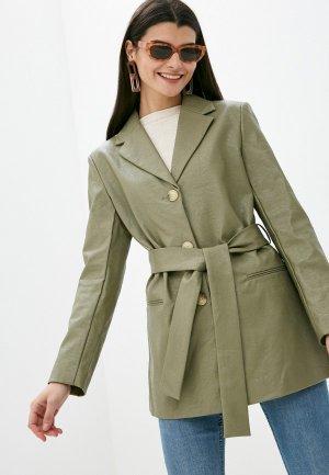 Куртка кожаная Mango - OLIVIA. Цвет: хаки