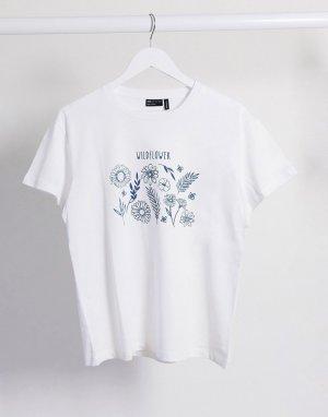 Приталенная футболка с принтом -Белый ASOS DESIGN
