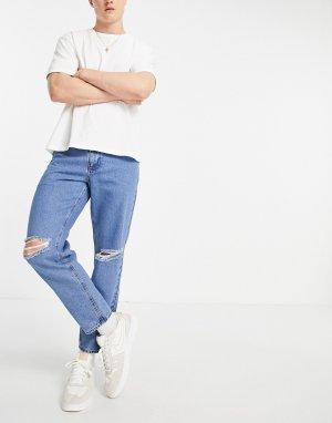 Голубые джинсы классического кроя из плотного денима со рваными коленями -Голубой ASOS DESIGN