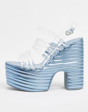 Серебристые сандалии на платформе -Серебристый Jeffrey Campbell