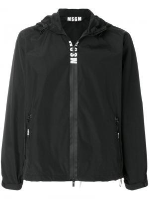 Ветровка с капюшоном логотипом MSGM. Цвет: черный