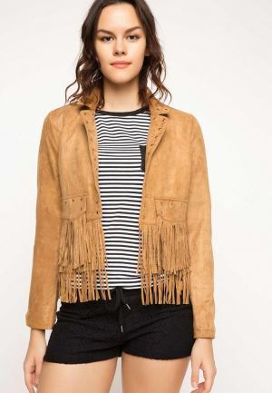 Куртка кожаная DeFacto. Цвет: коричневый