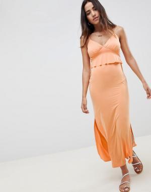 Летнее платье макси с баской -Оранжевый ASOS DESIGN