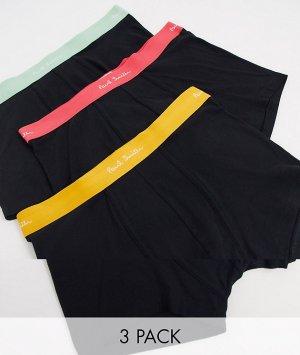 Набор из 3 черных боксеров-брифов с цветным поясом -Черный Paul Smith