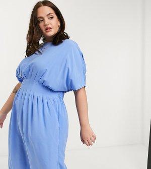 Синее платье миди с присборенной талией -Синий Junarose