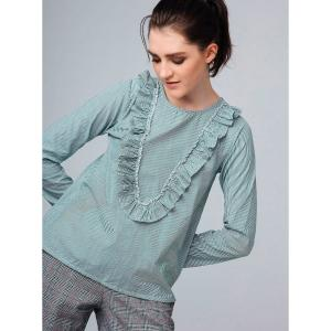 Блузка в полоску с воланами COMPANIA FANTASTICA. Цвет: в полоску зеленый/экрю