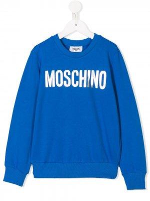 Logo print sweatshirt Moschino Kids. Цвет: синий