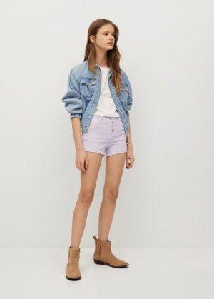 Джинсовые шорты с пуговицами - Rose Mango. Цвет: сиреневый