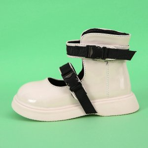 Для девочек Ботинки с пряжкой SHEIN. Цвет: бежевые