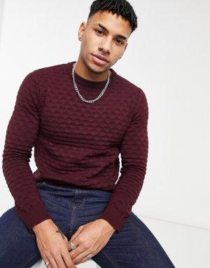 Бордовый пуловер с круглым вырезом -Красный Jack & Jones