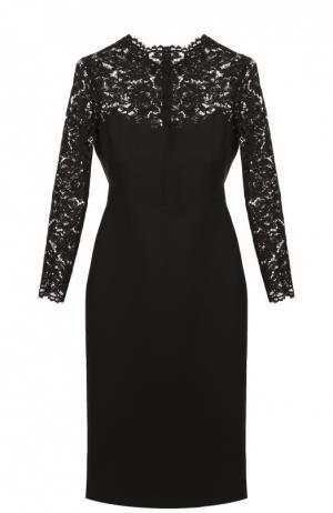 Приталенное платье с кружевным лифом и длинным рукавом Valentino. Цвет: чёрный