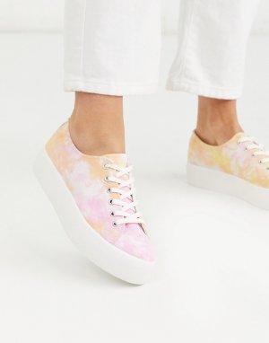 Розовые кроссовки на платформе с принтом тай-дай -Розовый Vagabond