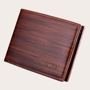 Мужской кошелек с текстовым принтом SHEIN. Цвет: коричневые
