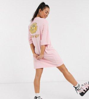 Платье-футболка в стиле oversized с принтом -Розовый Lazy Oaf