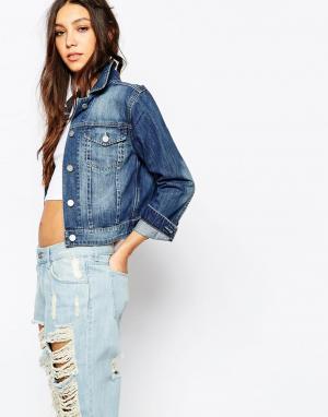 Джинсовая куртка узкого кроя WAVEN. Цвет: умеренный синий