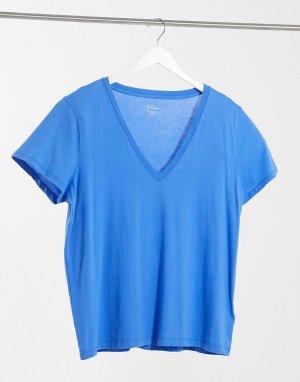 Голубая футболка из хлопка супима с V-образным вырезом new-Синий J Crew