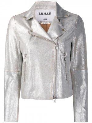 Metallic-print biker jacket S.W.O.R.D 6.6.44. Цвет: серебристый