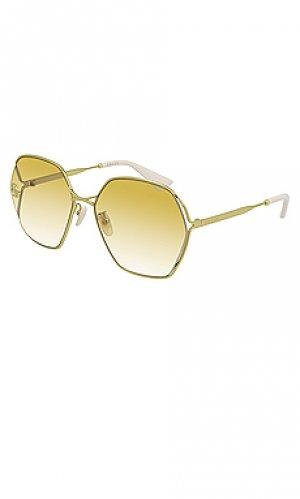Солнцезащитные очки oval fork Gucci. Цвет: желтый